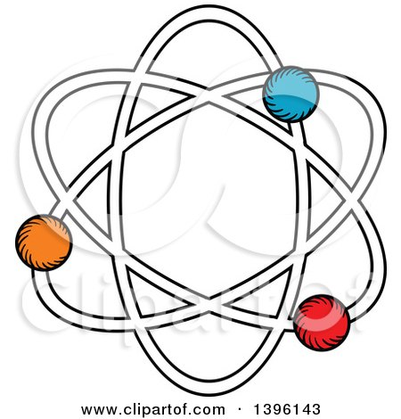 Clipart of a Sketched Atom - Royalty Free Vector Illustration by Vector Tradition SM