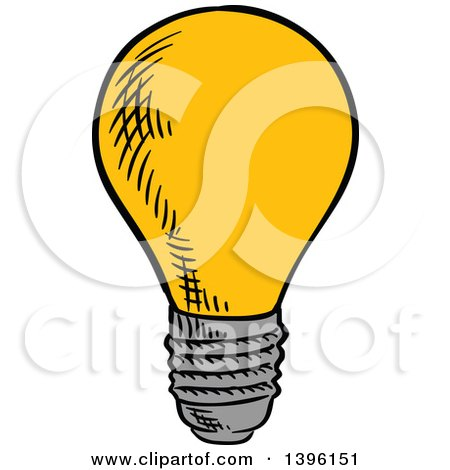 Clipart of a Sketched Light Bulb - Royalty Free Vector Illustration by Vector Tradition SM