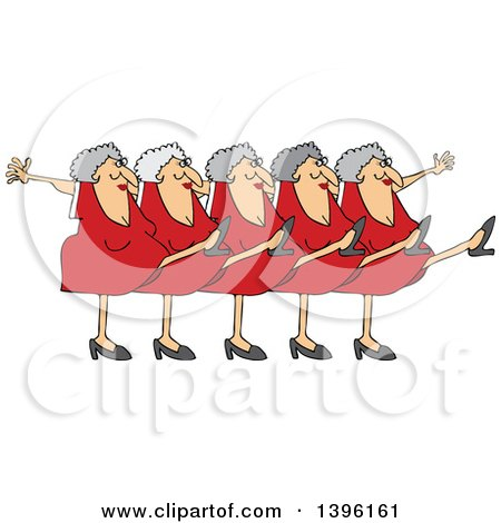 Clipart of a Cartoon Chorus Line of Senior Caucasian Ladies Dancing the Can Can - Royalty Free Vector Illustration by djart