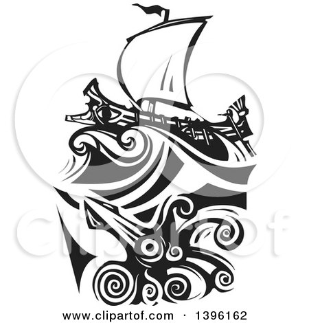 Clipart of a Black and White Woodcut Giant Squid Under a Greek Galley Ship - Royalty Free Vector Illustration by xunantunich