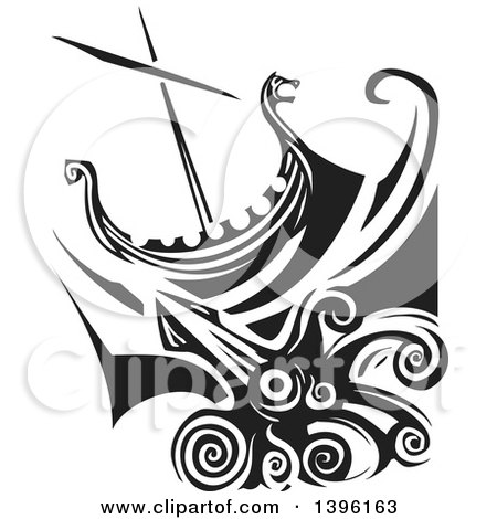 Clipart of a Black and White Woodcut Giant Squid Under a Viking Ship - Royalty Free Vector Illustration by xunantunich