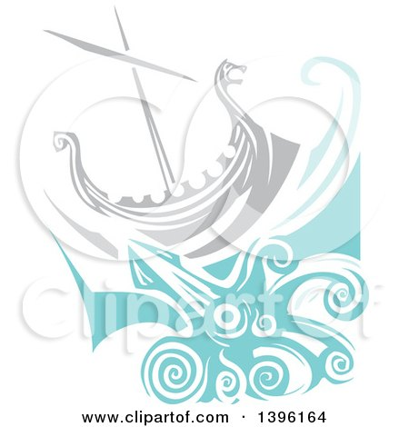 Clipart of a Woodcut Giant Squid Under a Viking Ship - Royalty Free Vector Illustration by xunantunich