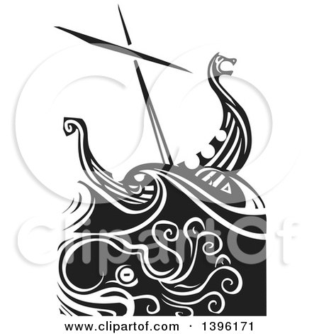 Clipart of a Black and White Woodcut Octopus Under a Viking Ship - Royalty Free Vector Illustration by xunantunich