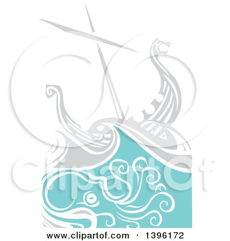Clipart of a Woodcut Octopus Under a Viking Ship - Royalty Free Vector Illustration by xunantunich
