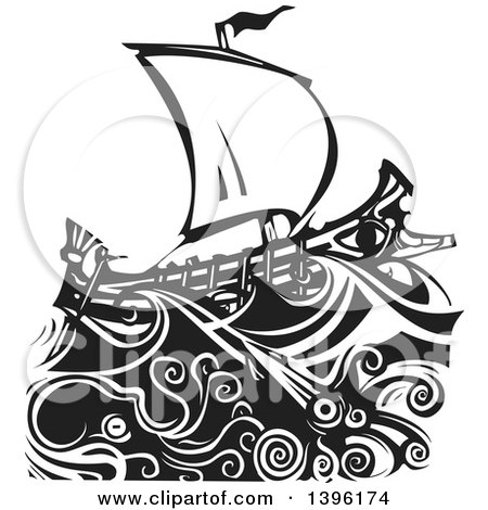 Clipart of a Black and White Woodcut Octopus and Giant Squid Under a Greek Galley Ship - Royalty Free Vector Illustration by xunantunich