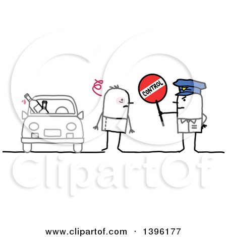 Sketched Stick Man Police Officer Holding a Control Sign by a Drunk Driver Posters, Art Prints