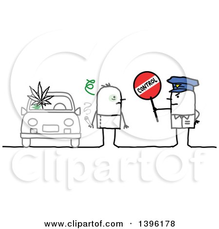 Clipart of a Sketched Stick Man Police Officer Holding a Control Sign by a High Driver - Royalty Free Vector Illustration by NL shop