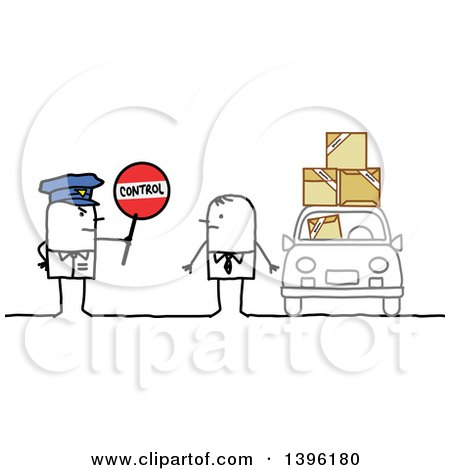 Clipart of a Sketched Stick Man Police Officer Holding a Control Sign by a Driver with Packages - Royalty Free Vector Illustration by NL shop