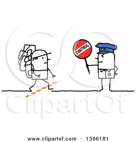 Clipart of a Sketched Stick Man Police Officer Holding a Control Sign by an Immigrant Crossing the Border - Royalty Free Vector Illustration by NL shop