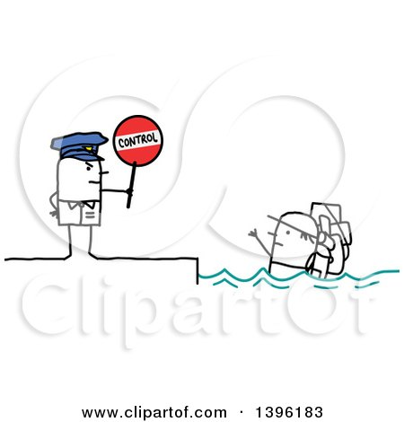 Clipart of a Sketched Stick Man Police Officer Holding a Control Sign by an Illegal Immigrant in the Ocean - Royalty Free Vector Illustration by NL shop