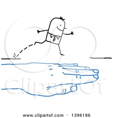 Clipart of a Sketched Blue Hand Bridging a Gap to Help a Stick Business Man Cross - Royalty Free Vector Illustration by NL shop