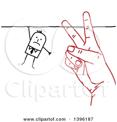 Clipart of a Sketched Red Hand Cutting the String That a Stick Business Man Is Hanging on to - Royalty Free Vector Illustration by NL shop