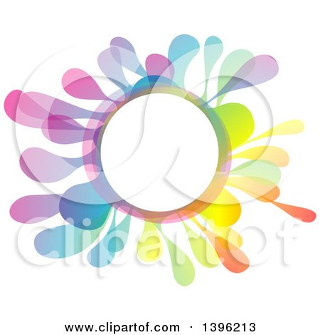 Clipart of a Colorful Creative Color Splash Circle Frame - Royalty Free Vector Illustration by dero