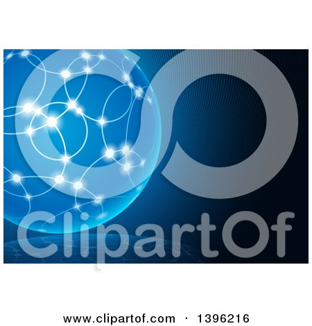 Clipart of a Blue Background with a Glowing Sphere - Royalty Free Vector Illustration by dero