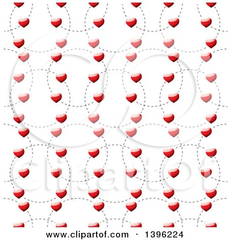 Clipart of a Seamless Pattern Background of Shiny Red Hearts on Dotted Circles - Royalty Free Vector Illustration by michaeltravers