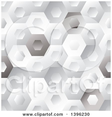 Clipart of a Seamless Pattern Background of Shiny Hexagons - Royalty Free Vector Illustration by michaeltravers