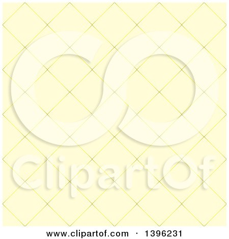 Clipart of a Seamless Pattern Background of Diamond Shaped Tiles in Yellow - Royalty Free Vector Illustration by michaeltravers