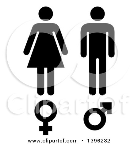 Clipart of Black Male and Female Silhouettes and Symbols - Royalty Free Vector Illustration by michaeltravers