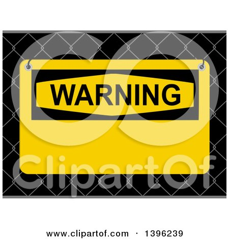 Clipart of a Yellow Warning Sign on a 3d Fence - Royalty Free Vector Illustration by elaineitalia