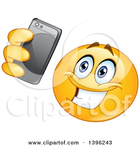 Clipart of a Cartoon Yellow Smiley Face Emoji Emoticon Taking a Selfie - Royalty Free Vector Illustration by yayayoyo