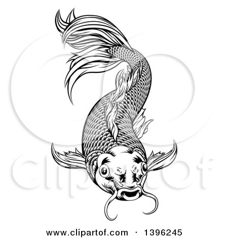 Clipart of a Black and White Woodcut Oriental Styled Koi Fish - Royalty Free Vector Illustration by AtStockIllustration
