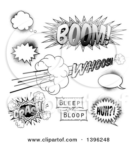Clipart of Black and White Halftone Comic Pop Art Design Elements - Royalty Free Vector Illustration by AtStockIllustration