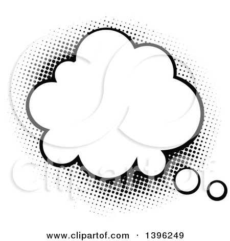Clipart of a Retro Black and White Pop Art Comic Styled Thought Balloon - Royalty Free Vector Illustration by AtStockIllustration