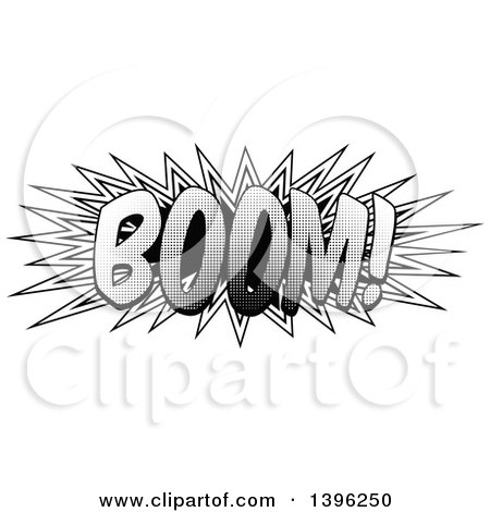 Clipart of a Retro Black and White Pop Art Comic Styled Boom Explosion Sound Effect - Royalty Free Vector Illustration by AtStockIllustration
