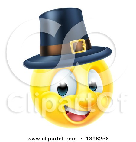 Clipart of a 3d Thanksgiving Pilgrim Yellow Smiley Emoji Emoticon Face Wearing a Hat - Royalty Free Vector Illustration by AtStockIllustration