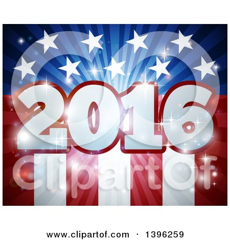 Clipart of a 3d 2016 Burst over an American Flag and Fireworks - Royalty Free Vector Illustration by AtStockIllustration