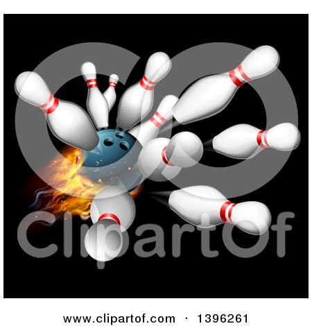 Clipart of a 3d Fiery Bowling Ball Crashing into Pins over Black - Royalty Free Vector Illustration by AtStockIllustration