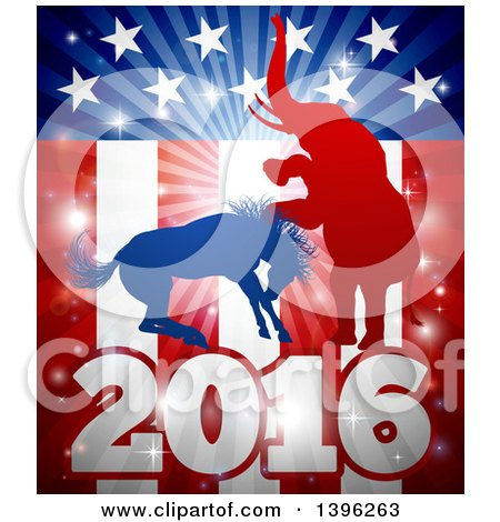 Clipart of a Silhouetted Political Aggressive Democratic Donkey or Horse and Republican Elephant Fighting over a 2016 American Flag and Burst - Royalty Free Vector Illustration by AtStockIllustration
