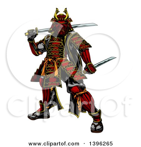 Clipart Of A Tough Japanese Samurai Warrior Holding Swords Royalty Free Vector Illustration