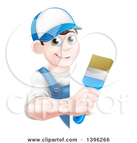 Happy Young Brunette Caucasian Male House Painter Holding a Brush Around a Sign Posters, Art Prints