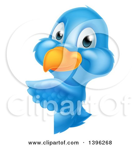 Clipart of a Happy Blue Bird Pointing Around a Sign - Royalty Free Vector Illustration by AtStockIllustration