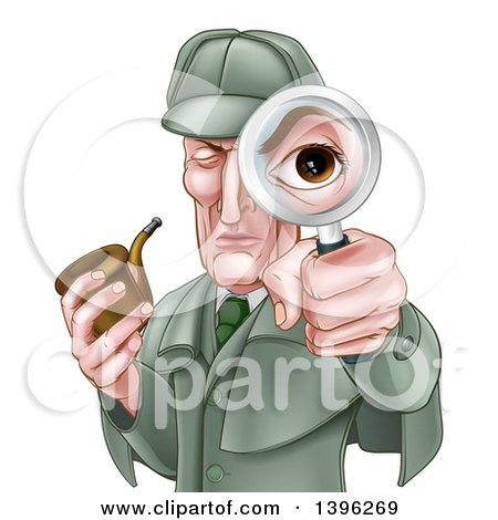 Clipart of a Cartoon Caucasian Male Detective, like Sherlock Homes, Looking Through a Magnifying Glass and Holding a Pipe - Royalty Free Vector Illustration by AtStockIllustration