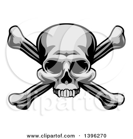 Clipart of a Grayscale, Jolly Roger Pirate Skull over Cross Bones - Royalty Free Vector Illustration by AtStockIllustration
