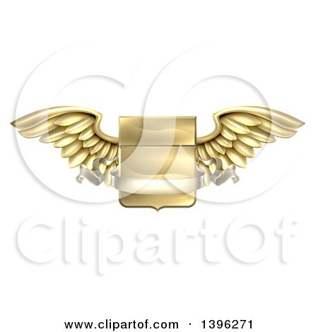 Clipart of a 3d Gold Metal Heraldic Winged Shield with a Blank Banner Ribbon - Royalty Free Vector Illustration by AtStockIllustration