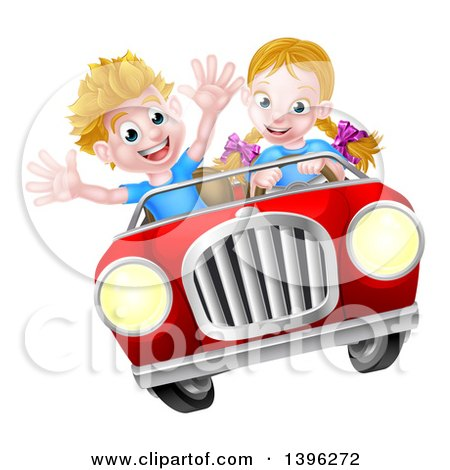 Clipart of a Blond White Girl Driving a Boy in a Red Convertible Car, Catching Air - Royalty Free Vector Illustration by AtStockIllustration