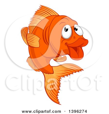 Clipart of a Cartoon Happy Goldfish - Royalty Free Vector Illustration by AtStockIllustration