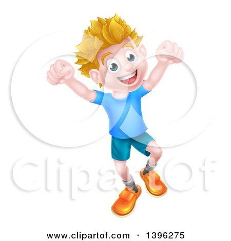 Clipart of a Cartoon Happy Excited Blond Caucasian Boy Jumping - Royalty Free Vector Illustration by AtStockIllustration