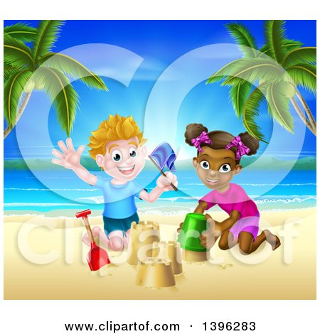 Clipart of a Happy White Boy and Black Girl Playing and Making Sand Castles on a Tropical Beach - Royalty Free Vector Illustration by AtStockIllustration