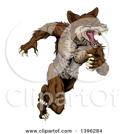 Clipart of a Running Brown Muscular Coyote Man - Royalty Free Vector Illustration by AtStockIllustration
