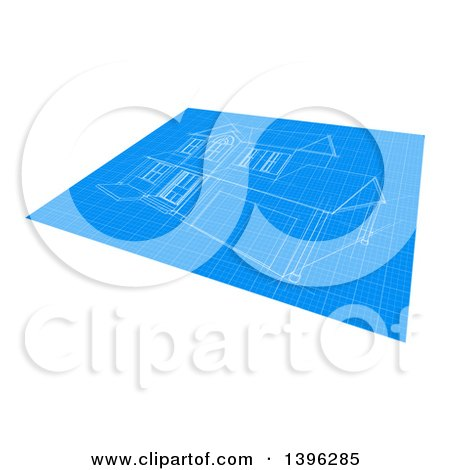Clipart of a Blueprint with a Home Design - Royalty Free Vector Illustration by AtStockIllustration