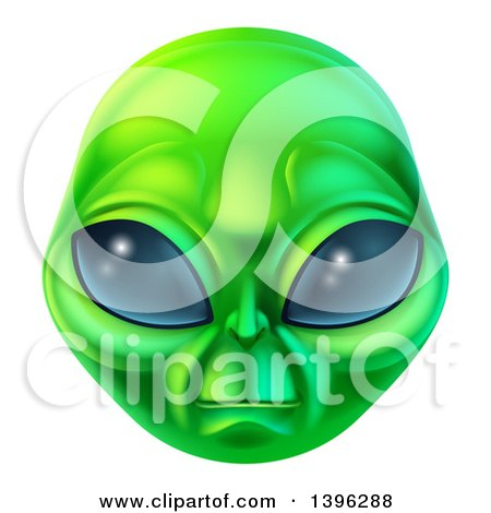 Clipart Of A Green Alien Face Royalty Free Vector Illustration