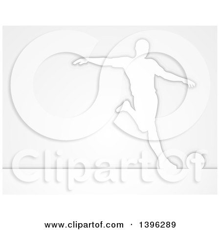Clipart of a White Silhouetted Male Soccer Player in Action, over Gray - Royalty Free Vector Illustration by AtStockIllustration