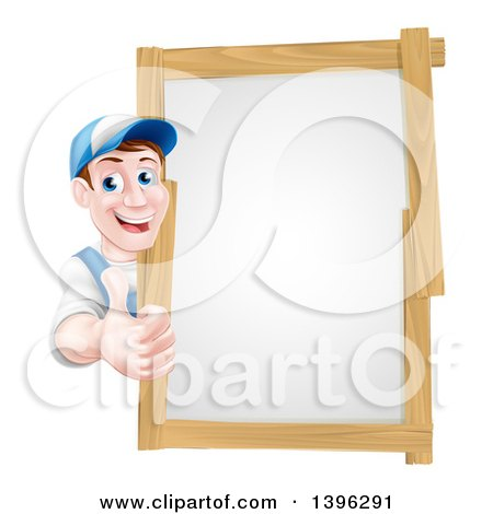 Clipart of a Happy Middle Aged Brunette Caucasian Handy Man in Blue, Wearing a Baseball Cap, Giving a Thumb up Around a Wood Framed Sign - Royalty Free Vector Illustration by AtStockIllustration