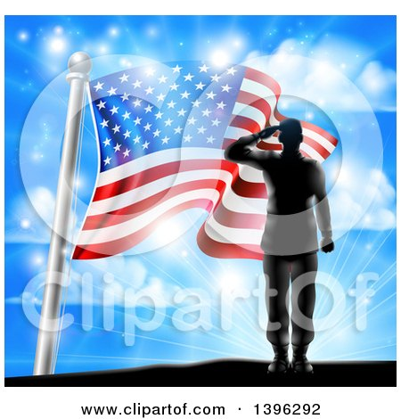 Clipart of a Black Silhouetted Solder Saluting on a Hill Top over an American Flag and Sky - Royalty Free Vector Illustration by AtStockIllustration