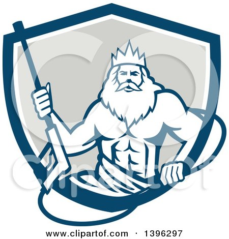 Clipart of a Retro Man, Neptune, Holding Pressure Washer Wand in a Blue White and Gray Shield - Royalty Free Vector Illustration by patrimonio