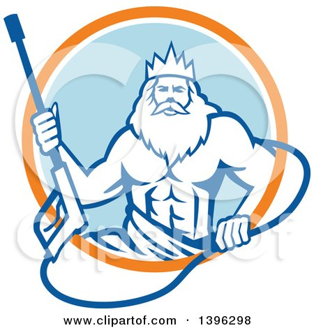 Clipart of a Retro Man, Neptune, Holding Pressure Washer Wand in an Orange White and Blue Circle - Royalty Free Vector Illustration by patrimonio